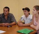 Juan González, Aldo Benítez y Julia Valdovinos (Foto El Territorio)