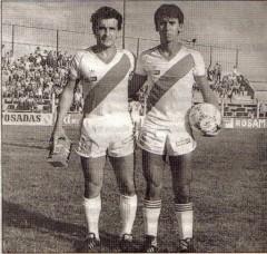 Rubén Enrique Nacimiento y Antonio Vidal González, notables figuras de aquel Guaraní de 1985 que goleó a Boca Juniors
